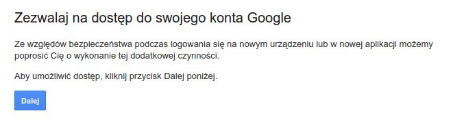 dostęp do konta google